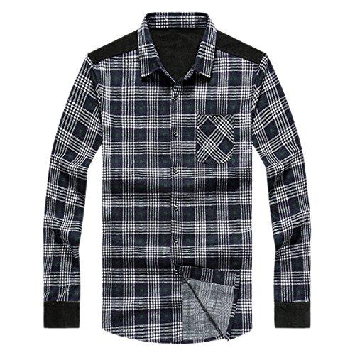 Rawdah Camisa de manga larga casual de los hombres de algodón Camisa de corte slim de los negocios de la blusa de vaquero Top B7jjs3
