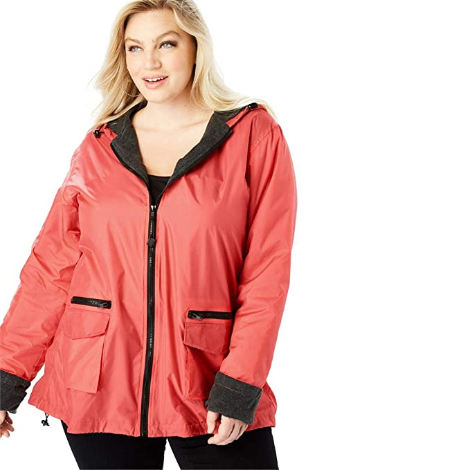 f0638631694 Roamans Women s Plus Size Hooded Nylon Jacket with Fleece Lining - Sunset  Coral