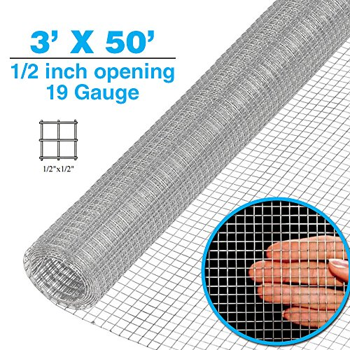 Clevr 3' x 50' 1/2 inch 19 gauge Mesh Welded Wire Hot-dipped Galvanized Hardware Cloth Gutter Guards Plant Supports Poultry Enclosure Chicken Run Fence Indoor Rabbit Pen Cage Wire Window Doors