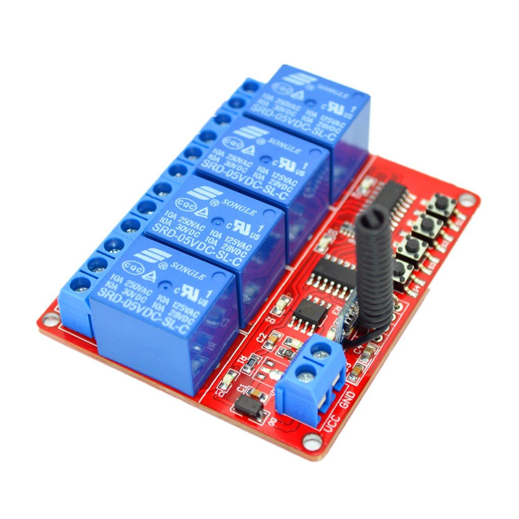 Braun MagiDeal 5V 4 Kanal Infrarot Empf/änger Modul Relais Modul Board Fernbedienung Schalter 433M