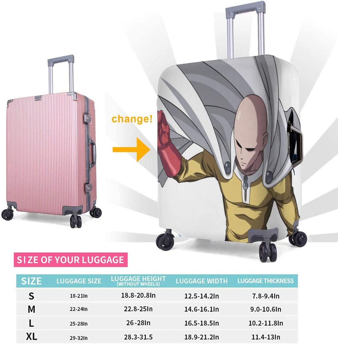 Travel Luggage Cover Cartoon ONE PUNCH MAN Travel Luggage Cover Suitcase Protector Fits 26-28 Inch Washable Baggage Covers