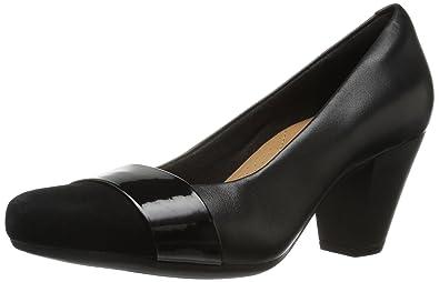 CLARKS Women's Garnit Lucia Dress Pump,Black Leather,5 ...