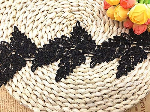 (9.5CM Width Europe Leaf Pattern Inelastic Embroidery Lace Trim,Curtain Tablecloth Slipcover Bridal DIY Clothing/Accessories.(2 Yards in one Package))