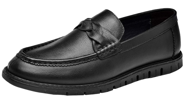 Oudan Mocassins Homme Décontracté Chaussures Lazy Noir Cuir Chaussures Mode Marron (coloré : Noir, Taille : 38EU)