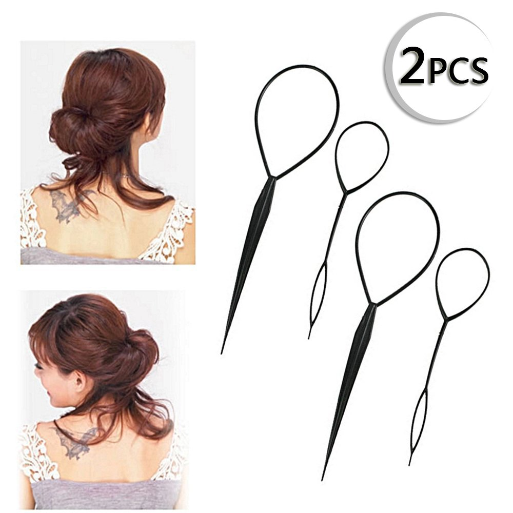 Iebeauty®Plastic Magic Topsy Tail Hair Braid Ponytail Styling Maker Clip Tool Black 2pcs