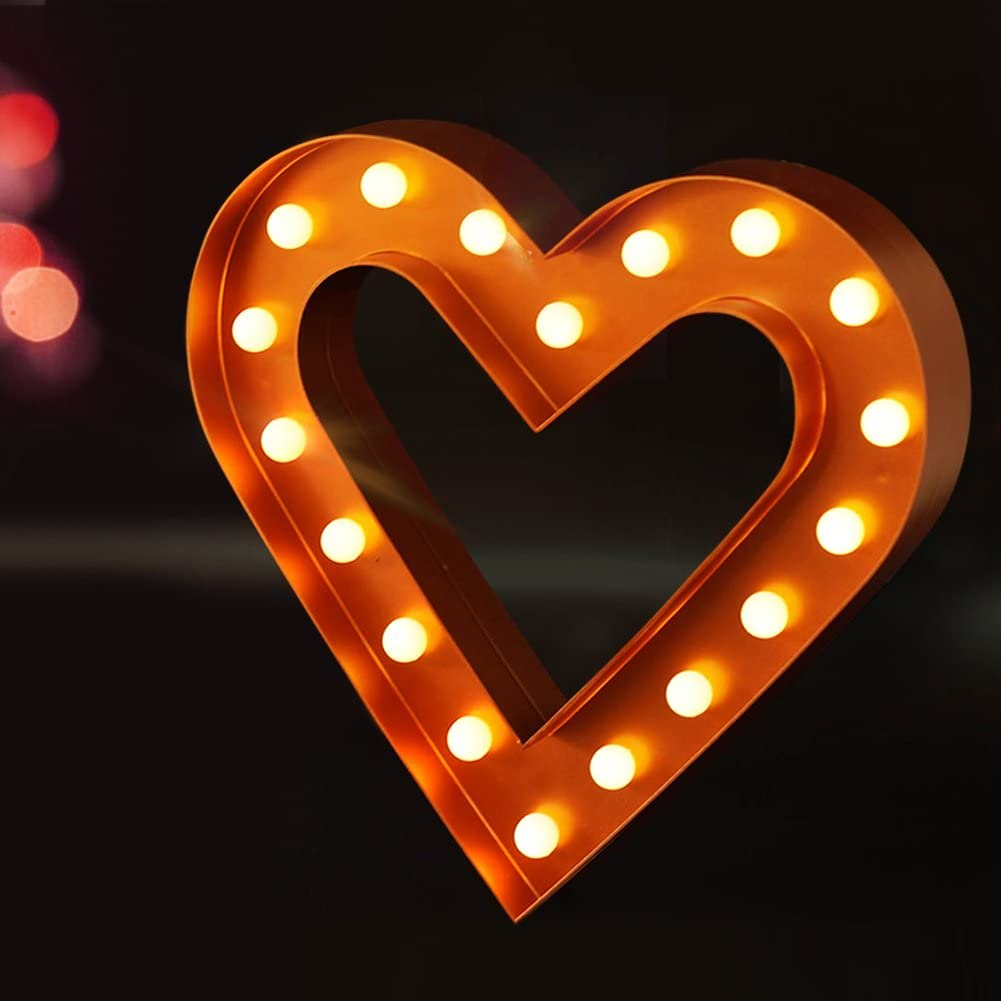 Bright Zeal 12 Inch Large Bronze LED Light Up Heart Marquee Heart with Lights and Timer - Lighted Heart Wall Decorations for Living Room - Outdoor Heart Light Up Sign Wedding Decorations for Tables