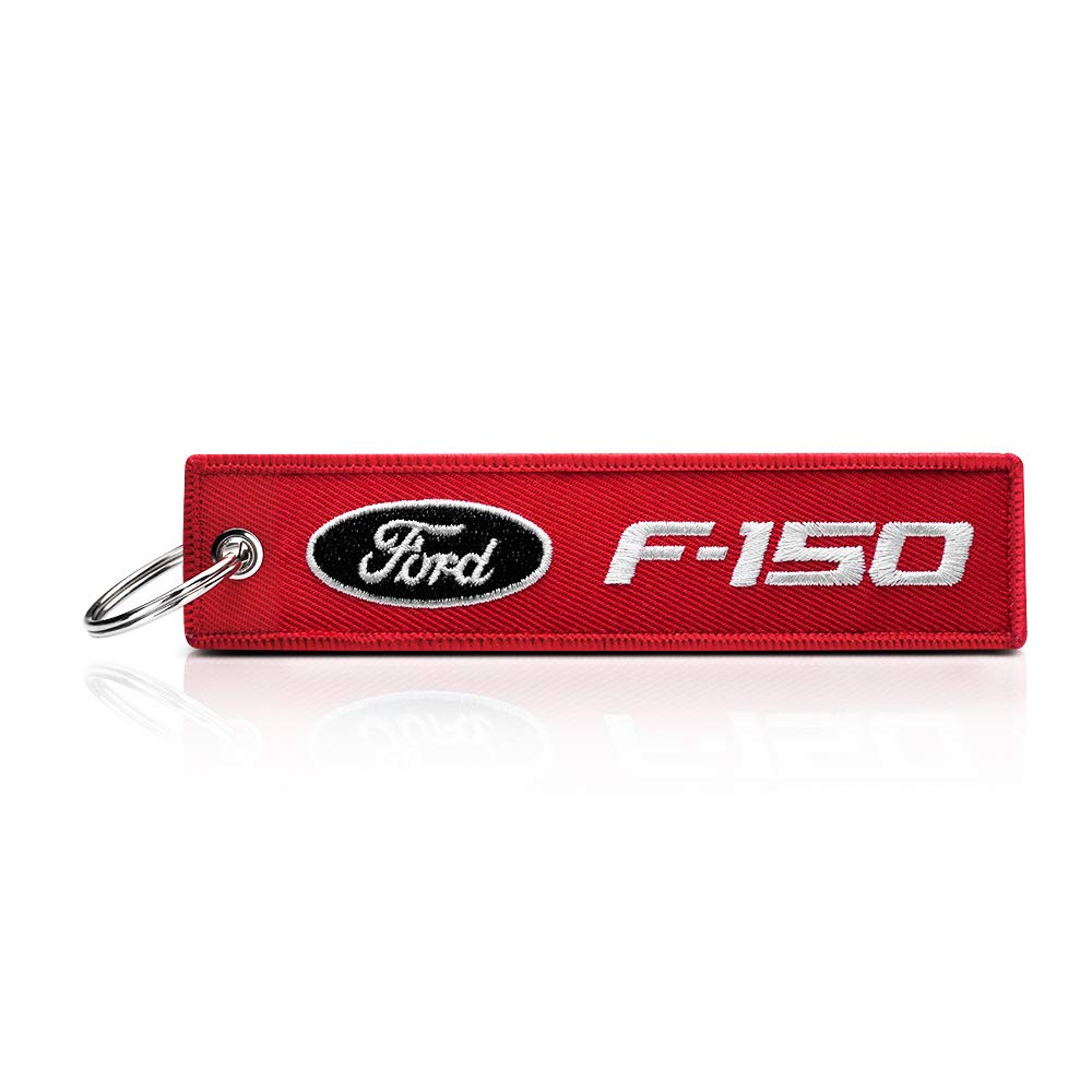 JIYUE 2Pack Embroidered Tag Keychain Key Ring for Ford Car Motorcycles Bike Biker Key Chain Bag Phone Chain for Ford Accessories Gifts(Ford f150)