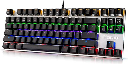 Gaming Mechanical Keyboard Led Backlit - Hcman USB Wired Computer Gaming Keyboard Blue Switches with Cool 6 Colors Light for PC or Mac,87 Keys (Silver)