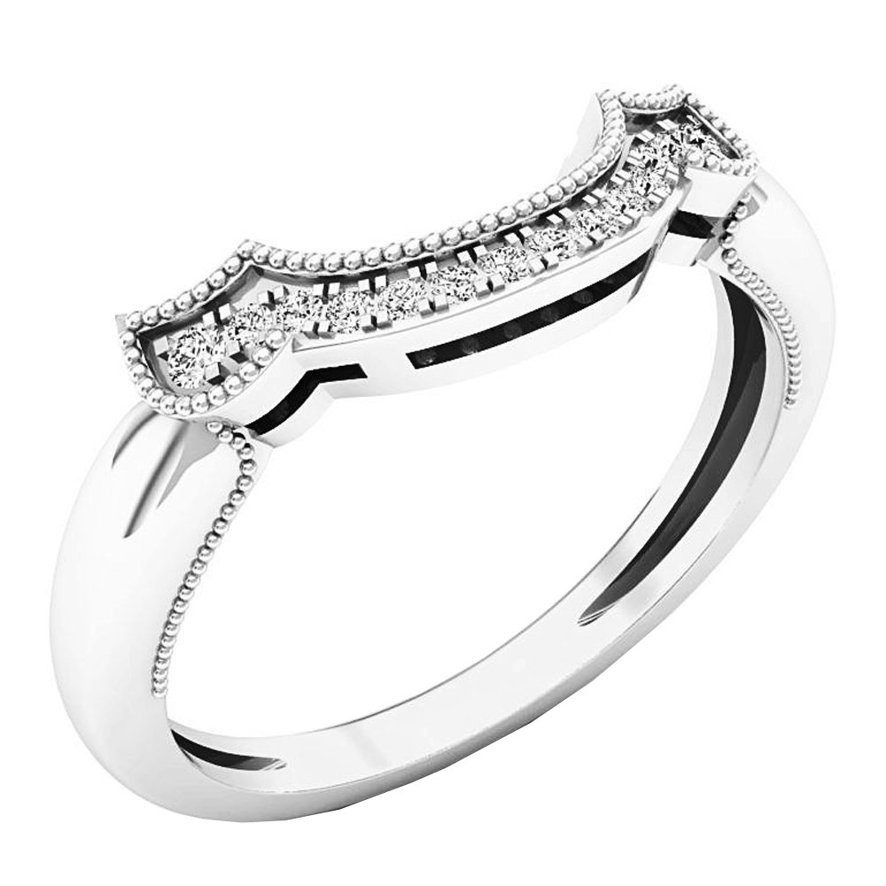 Dazzlingrock Collection 0.12 Carat (ctw) 10K Gold Round Diamond Ladies Wedding Stackable Band Contour Guard Ring K3726A-P