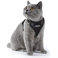 Cat Harness Black, Small Dog Harness Escape Proof Cat Harness Adjustable Vest Harnesses with Reflective Strap Soft Mesh Metal Clip No Choke Comfort Fit Walking Jacket for Boy Pet Puppy Kitten Rabbit