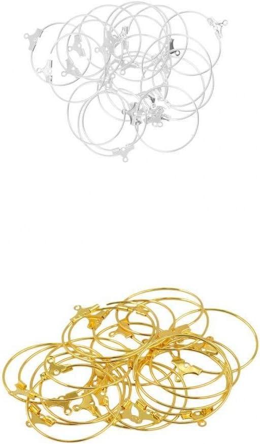 Bonarty 40 Piezas 28x25mm Pendientes Circulares De Aro Grande Clásico Moda Mujer Oreja Ganchos De Alambre DIY Resultados De La Joyería Oro Y Plata Bla
