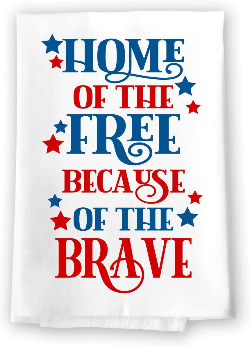 Honey Dew Gifts Kitchen Towels, Home of The Free Because of The Brave, 27 inch by 27 inch, 100% Cotton, Multi-Purpose Flour Sack Towels, Home and Kitchen Decor, Housewarming, Fourth of July Gifts