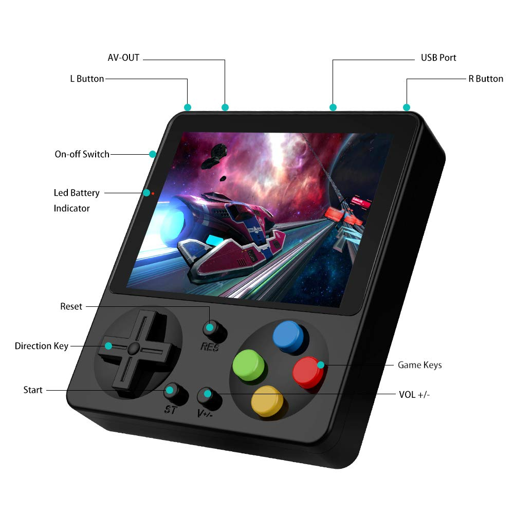 LFJSTECH Handheld Game Console, 333 Classic Games 3 Inch LCD Screen Portable Retro Video Game Console Support for Connecting TV and Two Players, Good Gifts for Kids and Adult. (Black) by LFJSTECH (Image #3)