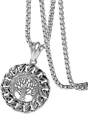 Edelstahl Schmuckset Kette Halskette Armband silber farben Lebensbaum