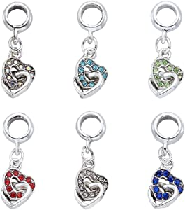Beadthoven 100pcs Plated Alloy Rhinestone European Dangle with Heart Beads Antique Silver Charms with Large Hole for Jewelry Making Key Chains DIY Crafts Home Decoration  Mixed Color