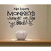 No More Monkeys Jumpin' on the Bed! Quote Wall Sticker Quote Decal Wall Art Decor G5790