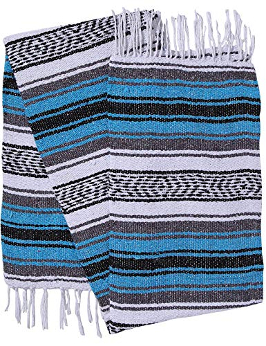 El Paso Designs Genuine Mexican Falsa Blanket - Yoga Studio Blanket, Colorful, Soft Woven Serape Imported from Mexico (Turquoise)]()