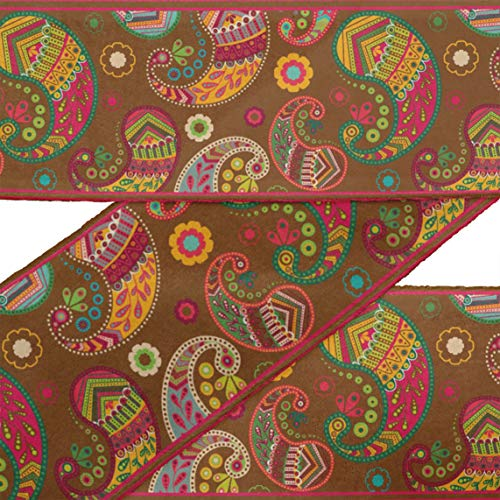 (IBA Indianbeautifulart Brown Floral & Paisley Printed RibbonTrim9 Yards Velvet Fabric Laces for Crafts Sewing Accessories 4 Inches)