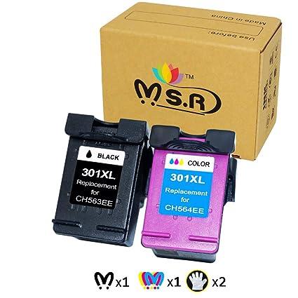 MSR - Cartuchos de Tinta remanufacturados HP 301XL 301 XL para impresoras HP Deskjet 2540 1510 3050 3050A 1050A 3055A HP Envy 4500 5530 5532 HP ...