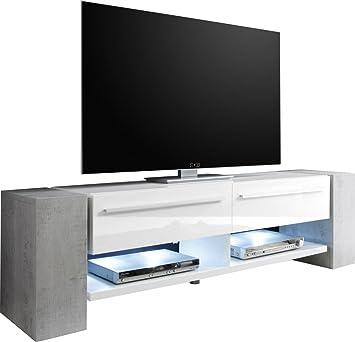Meuble Tv Design 210cm Coloris Gris Beton Et Blanc Brillant