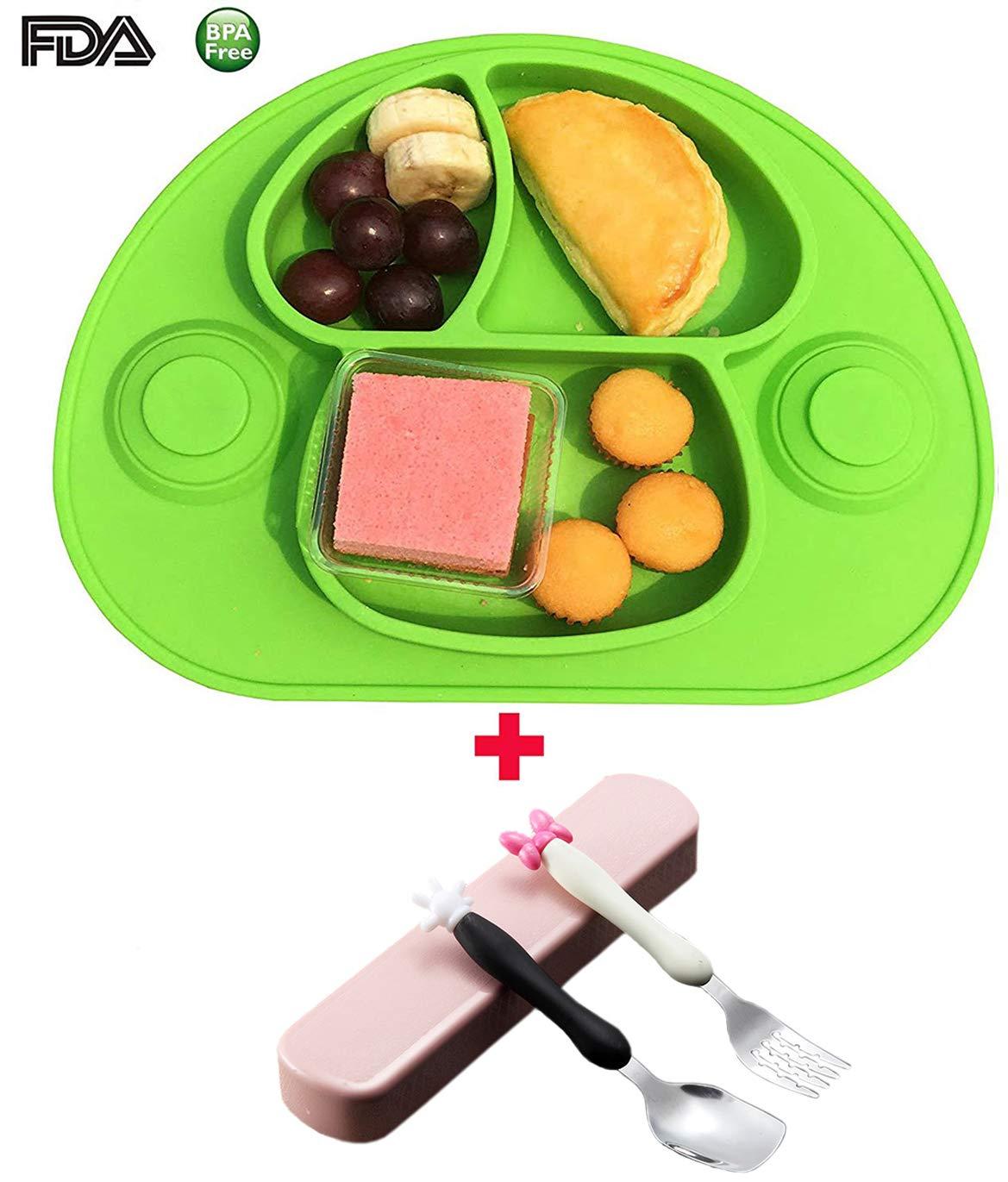 Bebé Niños Mantel Individual Plato de Silicona Con Fuerte Ventosa FDA y Sin BPA-Microonda, con un juego de vajilla(verde) lishens
