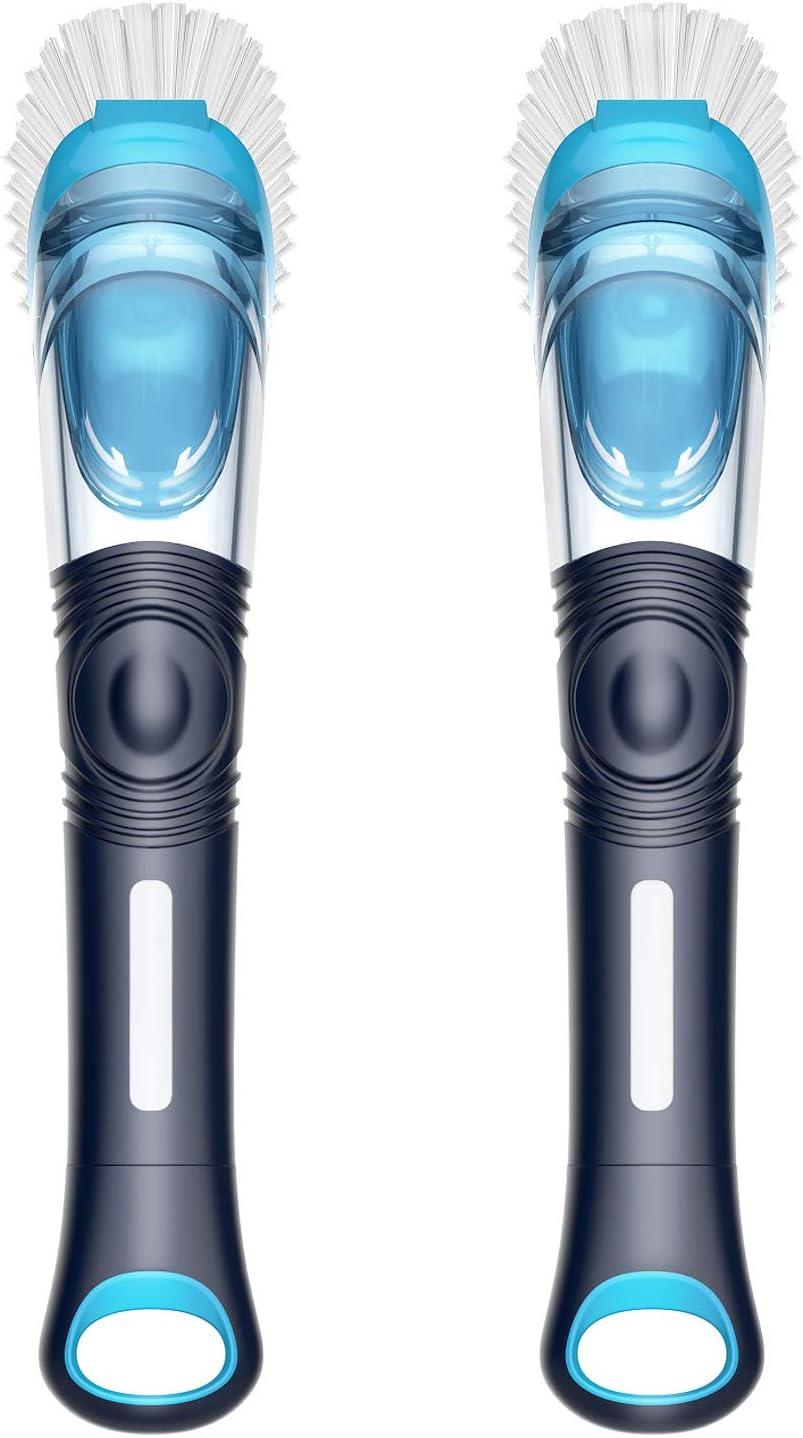 MR.SIGA Soap Dispensing Dish Brush, Kitchen Brush for Pot Pan Sink Cleaning, Pack of 2, Navy/Blue