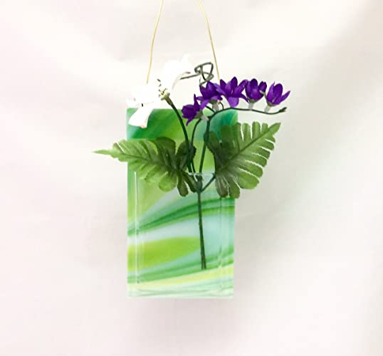 Amazon Pocket Vase Turquoise Green Swirl Fused Glass Wall