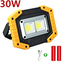 Portable Floodlight, 30W Rechargeable LED Work Light Floodlight Outdoor Floodlight Camping Lights with USB Waterproof for Outdoor Camping Travel Fishing Safety Lights