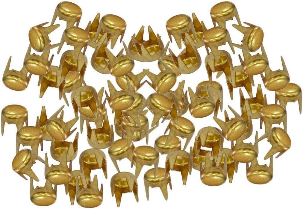 WedDecor - Remaches de cabeza plana de hierro con puntas para decorar cinturones, bolsos, zapatos, artesanía, accesorios de moda punk y gótico, 100 unidades, hierro, dorado, 6 mm