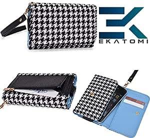 BLACK & WHITE Checker Pattern| Universal Spice Mi-350 Carrying Case Wrist-let Wallet BONUS EKATOMi Screen Cleaner*