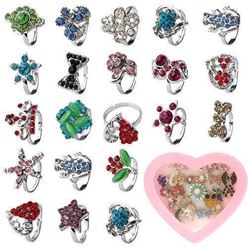 Fly-love® 20pcs Kids Crystal Silver Plated Children Girls Rings Adjustable Jewelry