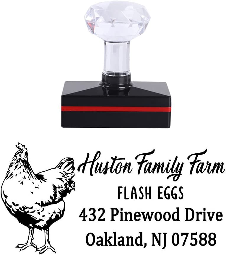 5025mm Personalized Hen Lays Eggs Fresh Family Farm Design Creative Ideas Gift Business Self Inking Office Teacher Stamper Custom Company Brand Return Address Rubber Stamp