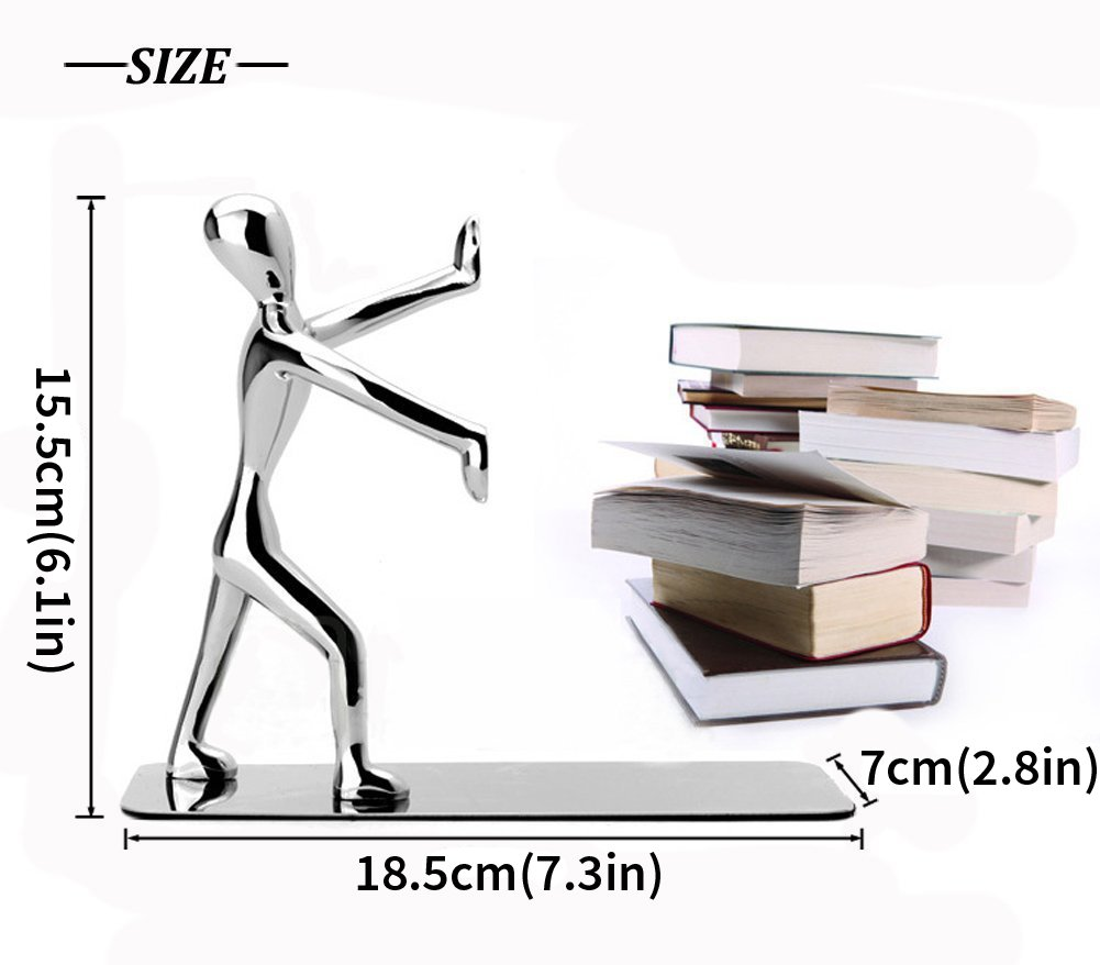 Joyoldelf Heavy Duty Stainless Steel Kung Fu Man Bookends for Home Office Library Decoration, 1 pair (Silver)