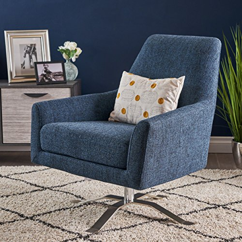 Alice Modern Indigo Weave Fabric Swivel Club Chair (Chair Alice)