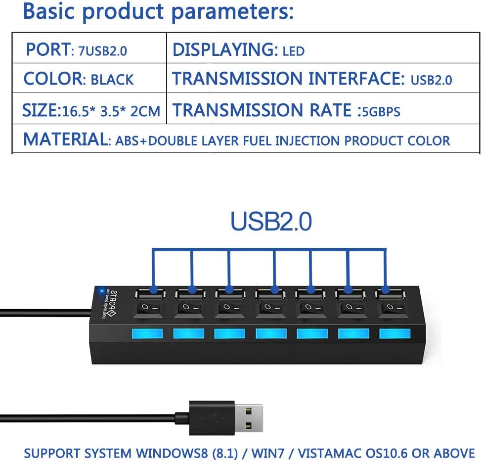 7 Port USB Hub with Individual LED Power Switches,7 Port USB2.0//3.0 Date hub high Speed up to 5Gbps Compatible with PC Laptop and Other Devices
