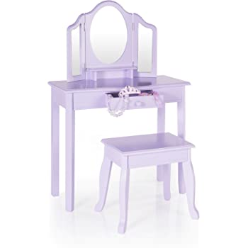 Guidecraft Vanity Stool U2013 Lavender: Childrenu0027s Table Chair Set 3 Mirrors  Make Up Drawer