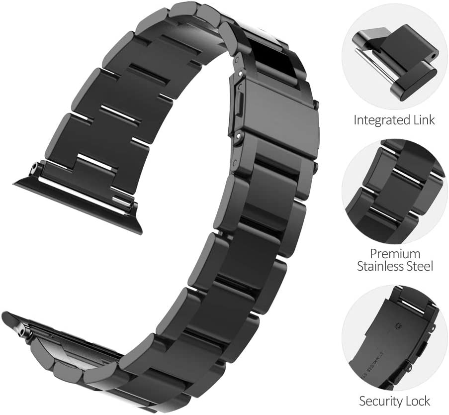[2019 Upgrade] UMTELE Metal Band Compatible with Apple Watch Series 5 4 3 2 1 38mm 40mm,Quick Adjustment Stainless Steel Buckle Clasp Replacement ...