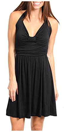 Little Black Knit Halter Dress at Amazon Women&39s Clothing store ...