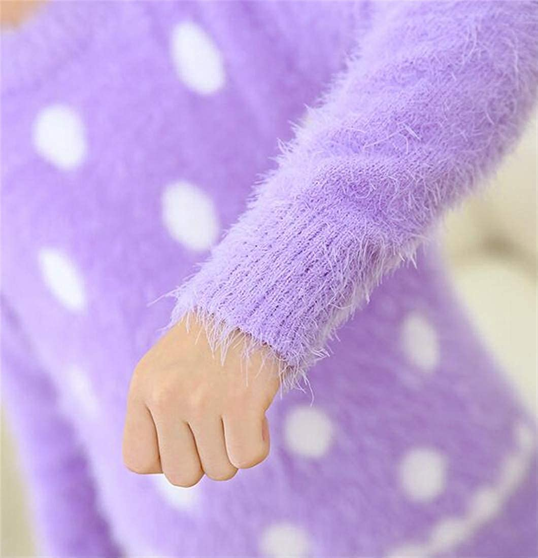 Joe Wenko Girls Cute Round-Neck Long Sleeve Dot Pullover Plush Jumper Sweaters