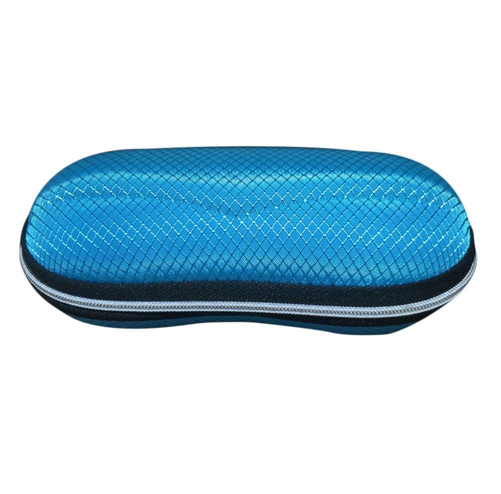 Drawihi Neue Oval brille box reißverschluss Faser Brillenetui sonnenbrille box Praktische Brillenbox (Blau)