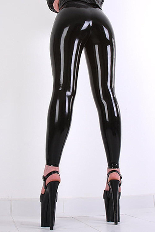 AvaCostume Womens Black Latex Rubber Trousers Jeans Pants Leggings