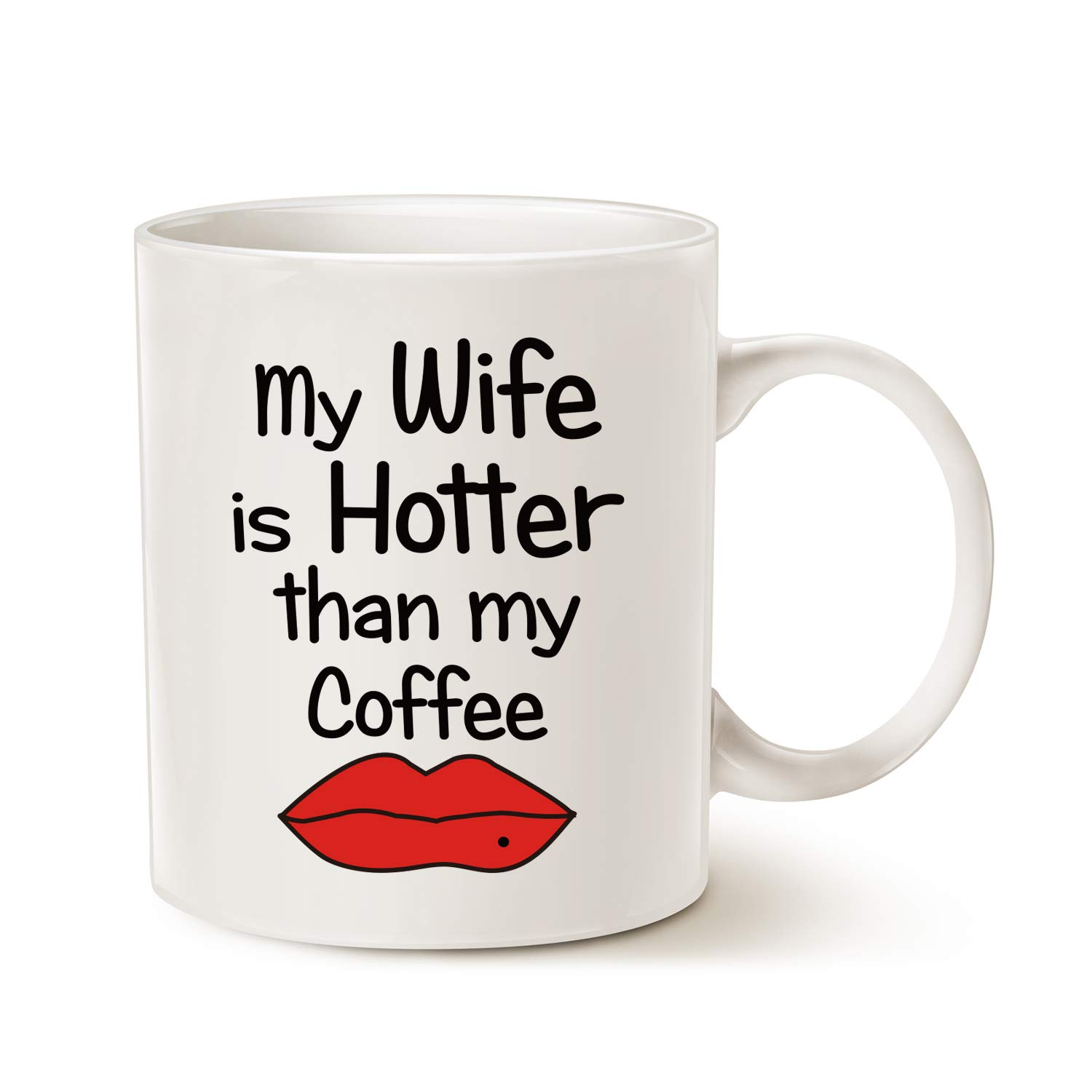 Wife Christmas Gifts.Mauag Valentines Day Funny Quote Coffee Mug For Wife Christmas Gifts My Wife Is Hotter Than My Coffee Love Lips Cup White 11 Oz