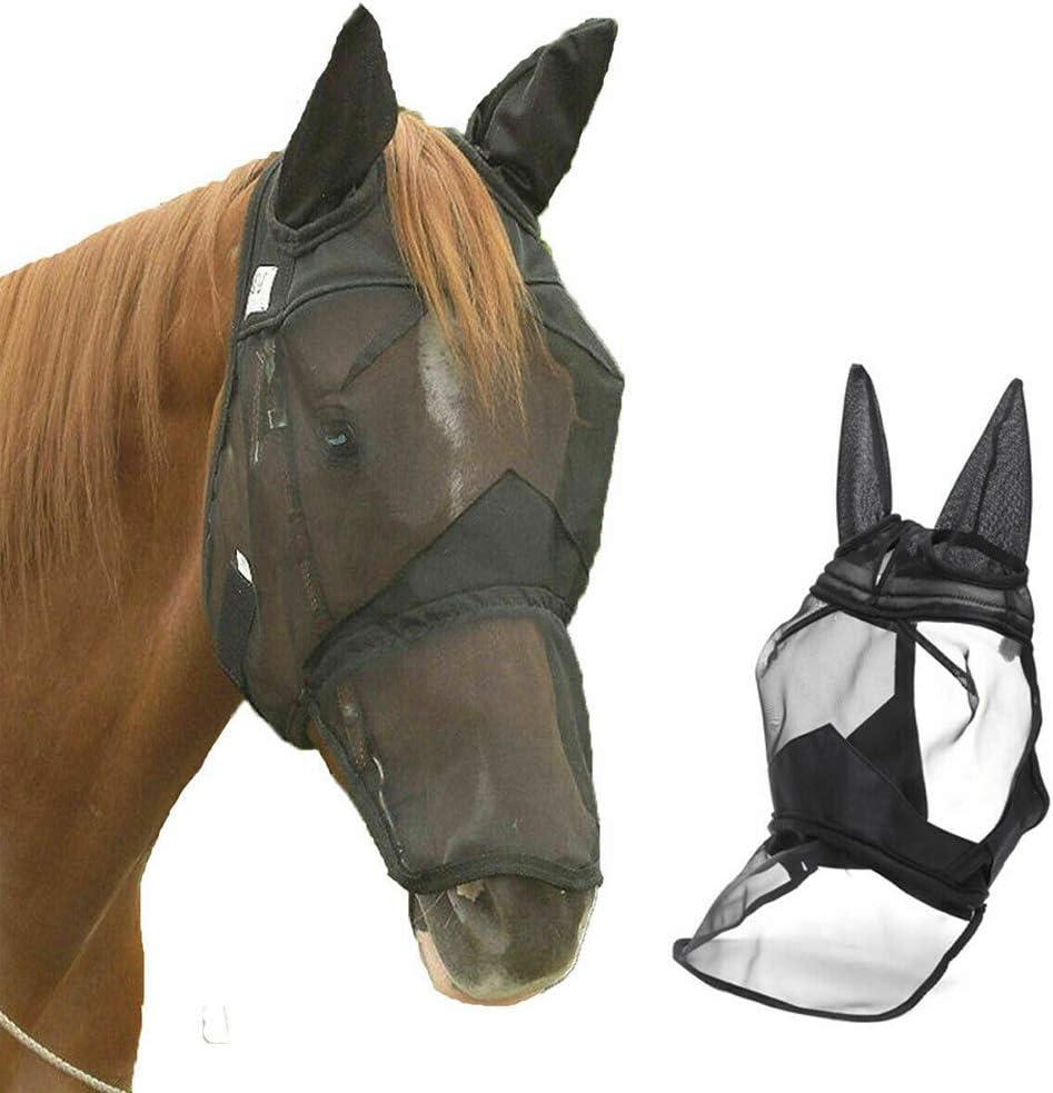 QLADY Horse's Full Face Shield Velo de la Mosca del Caballo extraíble con Velcro, Anti-Mosquitos, Anti-UV, Transpirable Cómodo para la protección de la Cara del Caballo Negro (M)