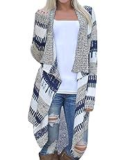 Kaimu Women Casual Long Sleeve Cardigan Autumn Striped Loose Outwear Cardigans