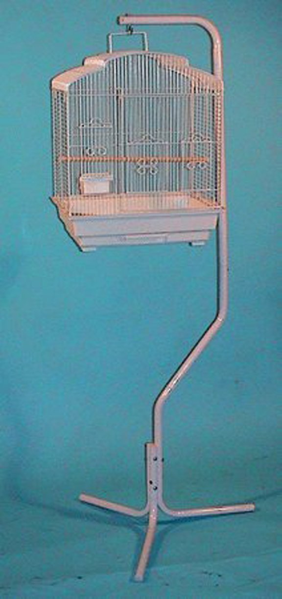 Pet Products Tubular Steel Hanging Bird Cage Stand With Metal Hook Mcage