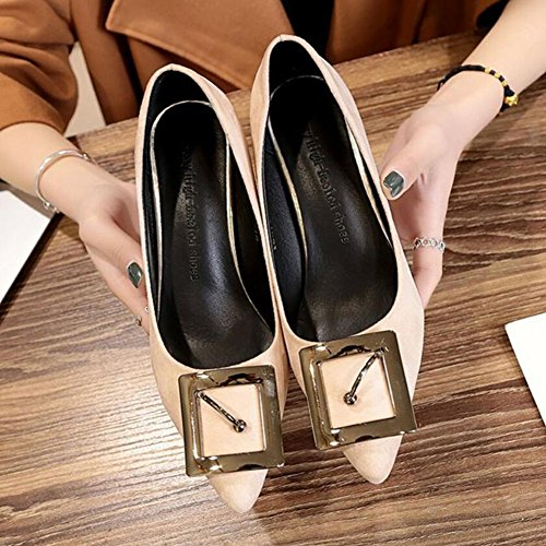 High Pointed Wine Green High Beige with Glasses Spring GAOLIXIA Shoes Pink Comfortable Heels Suede Beige Shoes Women's Heels Black RxX0Rwvqp