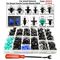 395Pcs Automotive Bumper Fastener Rivet Clips Fender Cover Clips Door Trim Panel Push Type Interior Clip with Trim Removal Tool 6-10mm