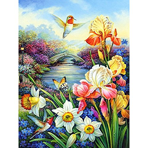 HKKYT 5D DIY Diamond Painting Streamside bridge flowers kit Resin Rhinestone Embroidery Cross Stitch Full Drill Home Wall Decor (30x40cm)