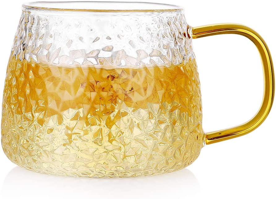 Glass Coffee Mug with Handle, ZDZDZ Glass Tea Cups Cappuccino Cups Latte Beer Mug,14oz