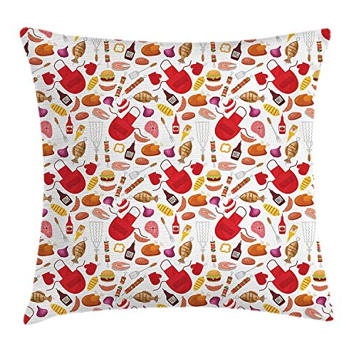 FFR EGM HAQSK CUFD Eco-Friendly BBQ Party Grilling Theme Ornamental Arrangement of Barbecue Party Elements Fish and Chicken Glamour Fantasy Design Cushion Cover 18x18In ()